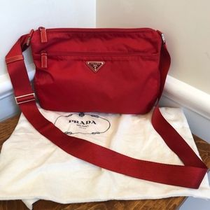 Prada Red Nylon cross body bag Tessuto